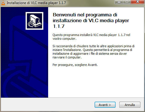 vlc media player installazione